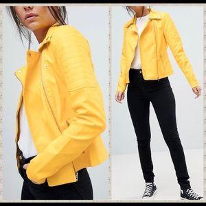 NWT yellow vegan leather moto oversized blazer